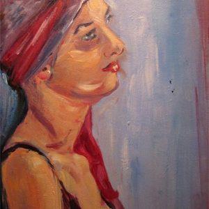 """""""Lady in red"""" - Acryl op paneel - 20 x 30 cm"""