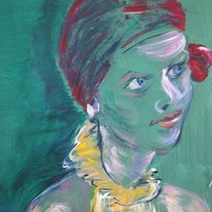 """Lady in yellow"" - Acryl op papier - 30 x 40 cm"