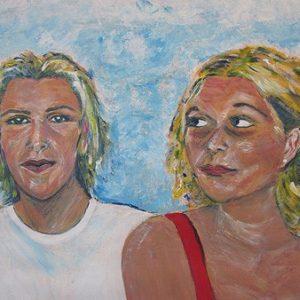 """'Broer en zus"""" - Acryl op papier - 50 x 60 cm"""