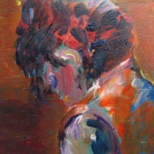 """""""Jonge dame I"""" - Acryl op board - 10 x 10 cm"""