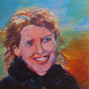 """""""Jonge dame III"""" - Acryl op board - 10 x 10 cm"""