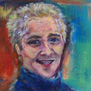 """Jonge man"" - Acryl op board - 10 cm x 10 cm"