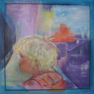 """Peuter"" - Acryl op wijnkistje - 70 x 70 cm"