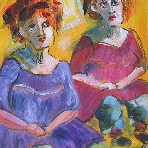 """""""Duo portret"""" - Gemengde techniek op doek - 60 x 70 cm"""