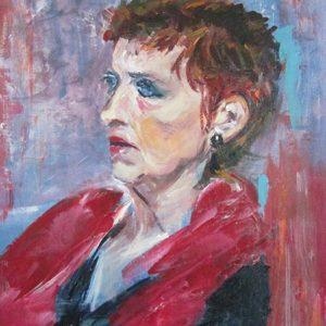 """""""Lady in red"""" - Acryl op doek - 30 x 40 cm"""