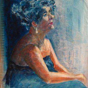 """Lady in bleu"" - Acryl op karton - 50 x 70 cm"