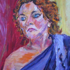 """""""Lady in violet"""" - Acryl op doek - 40 x 50 cm"""