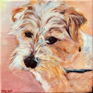 """Dinky"" - Acryl op doek - 20 x 20 cm"
