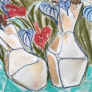 """'Hartenvaas"""" - Pastelkrijt op papier - 50 x 65 cm"""