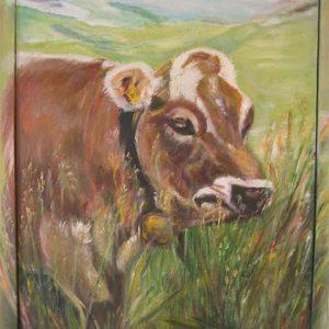 """""""Jonge stier"""" - Acryl op paneel - 80 x 60 cm"""