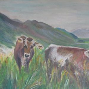 """Koe met stierkalf Champery"" - Olieverf op doek - 40 x 50 cm"