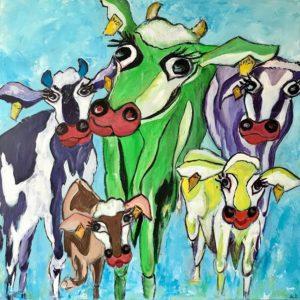 """""""Vrolijke koeien II"""" - Acryl op doek - 100 x 100 cm"""