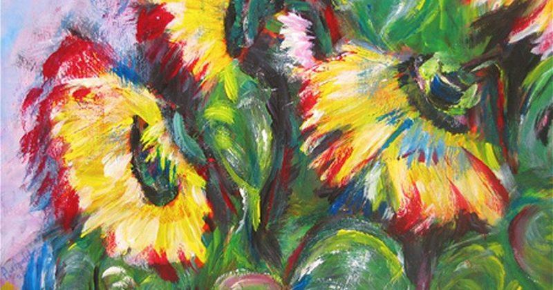 """'Zonnebloemen"""" - Acryl op papier"""" - 30 x 40 cm"""