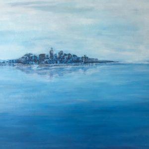 """Droomeiland"" - Acryl op board -  54 x 74 cm"