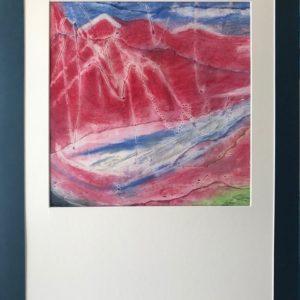"""""""Gletsjer"""" - Gemengde techniek op board - 40 x  40 cm /  lijst 60  x 80 cm"""