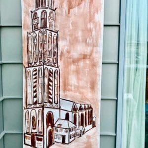 """Martinitoren"" - Ecoline op behangpapier - 90 x 290 cm"