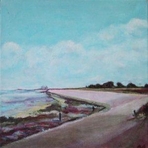 """Oude Schild"" - Acryl op doek - 20 x 20 cm"