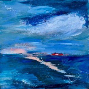 """""""Overtocht"""" - Acryl op doek - 20 x 20 cm"""