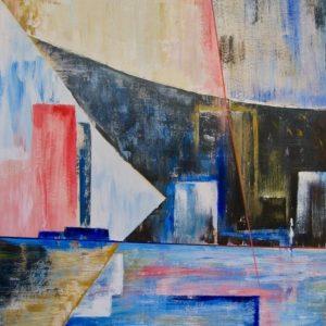 """""""Schip in dok I"""" - Acryl op papier - 50 x 70 cm"""