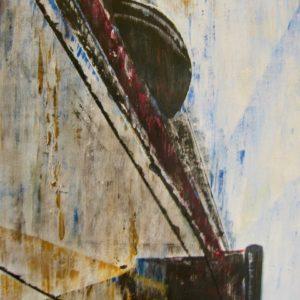 """""""Schip in dok II"""" - Acryl op papier - 50 x 70 cm"""