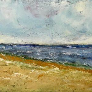 """""""Vlieland strand"""" - Olieverf op doek - 25  x 70 cm"""