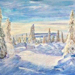 """""""Winter in Noorwegen""""  - Acryl op doek  - 80 x 120 cm"""