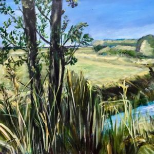 """""""Zicht op Stainkoeln vanaf Waterhuizerweg""""- Acryl op doek - 50 x 70 cm"""