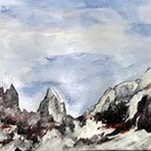 """'Cella Ronda Italie"""" - Gemengde techniek op papier - 33 x 130 cm"""