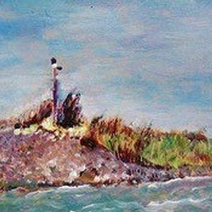 """'Waddenhaven bij Den Oever"""" - Acryl op paneel - 39 x 11 cm"""