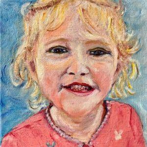 """""""Meisjesportret I""""- Olieverf op doek - 20 x 20 cm"""