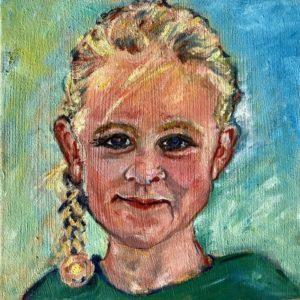 """""""Meisjesportret II""""- Olieverf op doek - 20 x 20 cm"""