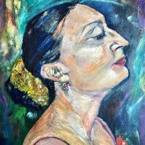 """""""Piano Lady"""" Olieverf op doek - 50 x 60 cm"""